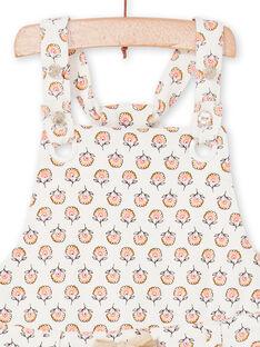 Baby Mädchen ecru und rosa Latzhose mit Baby Mädchen Blume drucken LIPOESAL / 21SG09Y1SAL001