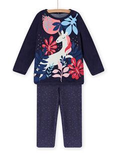 Pyjama aus Samt mit phosphoreszierendem Einhornmotiv Kind Mädchen MEFAPYJORN / 21WH1181PYJ070