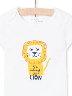 Baby Boy's weißer Löwe Druck kurze Ärmel Bodysuit MEGABODLIO / 21WH14B4BDL000