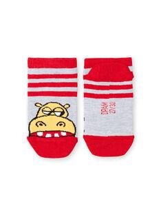 Socken grau und rot gestreift Baby Junge LYOVISOQ / 21SI02U1SOQ943