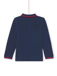 Langarm-Poloshirt für Jungen einfarbig blau MOJOPOL1 / 21W90216POL705