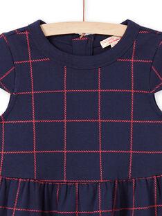 Rot kariertes kurzärmeliges Kleid für Mädchen, nachtblau MAJOROB4 / 21W90124ROBC205