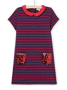 Rot und mitternachtsblau gestreiftes milano Kleid für Mädchen MAJOROB2 / 21W90126ROBC205