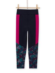 Marineblaue Leggings mit Blumendruck für Mädchen MAJOBAJOG4 / 21W90119PANC205
