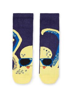Blaue und gelbe Socken Kind Junge LYONAUCHO2 / 21SI02P2SOQ070