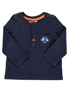Baby boys' navy blue long-sleeved T-shirt DUJOTUN3 / 18WG1038TMLC205