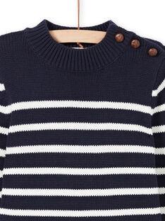 Marineblau und weiß gestreifter Pullover für Jungen MOJOPUL1 / 21W90213PUL001