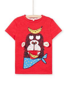 Rotes und gelbes T-Shirt für Jungen LOVITI3 / 21S902U3TMC505