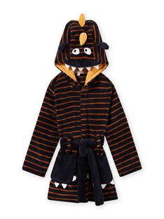 Nachtblau gestreifter Schlafanzug für Jungen mit Monstermotiv MEGOROBMON / 21WH1291RDC705