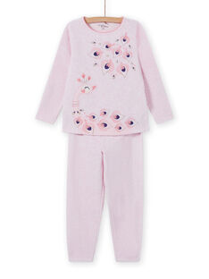 Rosa Pyjama-Set mit Pfauenmotiv, Baby Mädchen MEFAPYJPEA / 21WH1132PYJD314