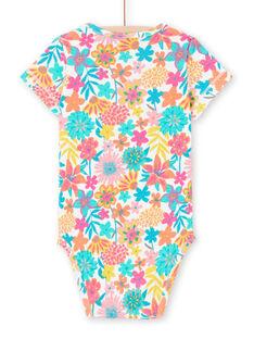 Baby-Mädchen-Body mit kurzen Ärmeln und Blumendruck MEFIBODANI / 21WH13B6BDL001
