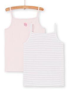 Satz von 2 rosa und weißen Tank Tops für Kinder Mädchen LEFADELFRU / 21SH1122HLI301