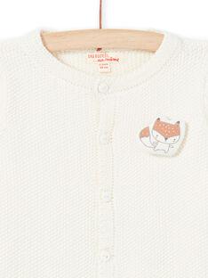 Gemischte Geburt gestrickt Strickjacke ecru mit Fuchs Muster MOU1GIL2 / 21WF0541GIL001
