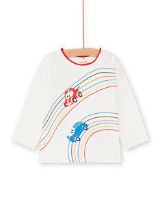 T-shirt ecru und rot baby junge LUHATEE1 / 21SG10X2TML001