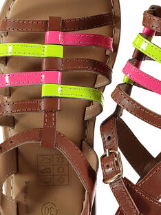 Sandalen aus neonfarbenem Leder für draußen Mädchen FFSANDVIA / 19SK35C7D0E030