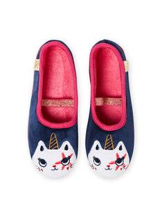 Hausschuhe navy blau mit Einhorn Katze Design Kind Mädchen MAPANTCATLIC / 21XK3534D07070