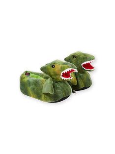 Hausschuhe 3D Dinosaurier grün Kind Junge KGBOOTSAUR / 20XK3681PTD600