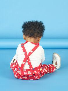 Rote und weiße Latzhose mit Blumendruck für Babymädchen LIHACOMB / 21SG09X2CBL505