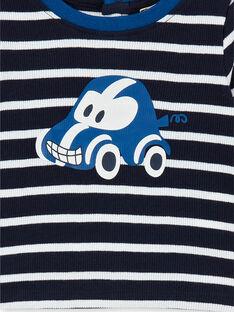 Dunkelblau und weiß gestreiftes Baumwoll-T-Shirt Baby Boy LUJOTEE4 / 21SG1032TML713
