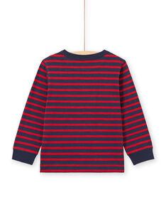 Langarm-T-Shirt mit roten und marineblauen Streifen - Junge MOJOTIRIB2 / 21W90224TML505