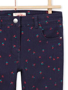 Mitternachtsblaue Twill-Hose mit Blumen- und Herzchen-Print MAJOPANT3 / 21W90121PANC205