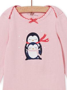Baby-Mädchen-Langarm-Body in Rosa mit Pinguin-Motiv MEFIBODNEI / 21WH13C2BDLD314
