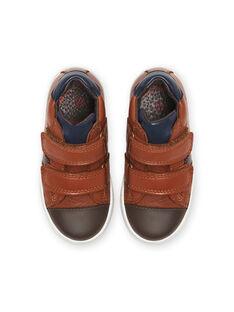Kamelfarbene Leder-Sneakers für Kind Junge MOBASNEWTAN / 21XK3674D3F804