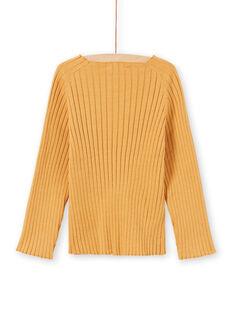 Einfarbiger langärmeliger gelber Pullover für Mädchen MAJOPULL3 / 21W901N2PULB107