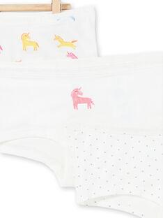 Satz von 3 Shorts weiß, gelb und rosa Kind Mädchen LEFAHOTLIC / 21SH1121SHY001