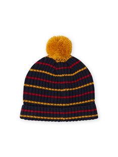 Mitternachtsblau, gelb und rot gestreifte Mütze mit Pompon für Babyjungen MYOGROBON2 / 21WI0254BON705