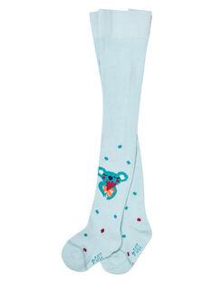 Baby-Baumwollstrumpfhose für Mädchen in Wassergrün mit Koala-Muster JYICLOCOL / 20SI0911COL219