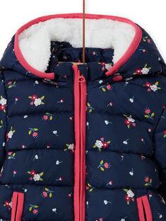 Baby Girl's Marineblau Floral Print Hooded Tröster MIKADOU / 21WG0952D3E070