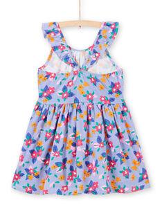 Mädchenkleid mit gerüschten Trägern, Streifen und Blumen LAPLAROB1 / 21S901T2ROB000