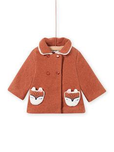 Mokkafarbener Wollmantel mit Fuchstaschen Baby Mädchen MICHECKMAN / 21WG0961MAN817