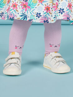 Unifarbene lavendelfarbene Strumpfhose für Baby Mädchen mit Teddymuster MYIPLACOL / 21WI09O1COL326