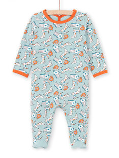 Grüner und orangefarbener Hundestrampler für Babyjungen MEGAGREAOP / 21WH1434GRE219
