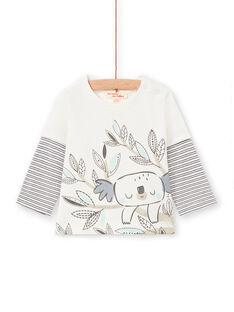 T-shirt ecru und marineblau baby boy LUPOETEE3 / 21SG10Y1TML001