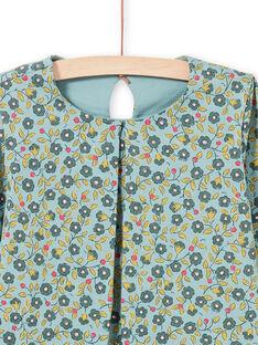 Langärmelige hellgrüne Bluse für Mädchen mit Blumendruck MAKATEE5 / 21W901I5TML612