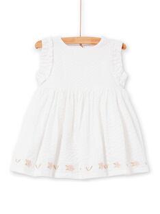 Weißes Baby Mädchen Kleid LIBALROB2 / 21SG09O4ROB000