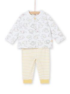 Langärmeliges Polo-Shirt mit Affenprint und gestreiften Leggings für Knabengeburten LOU1ENS3 / 21SF04H1ENS000