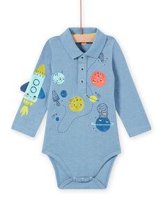 Blau melierter Strampler für Baby Junge mit Weltraumkragen MUPLABOD / 21WG10O1BODC224