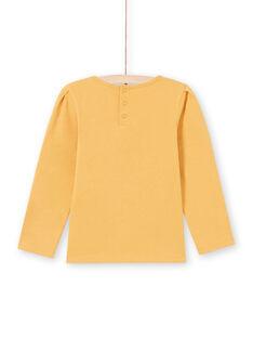 Senfgelbes Langarm-T-Shirt für Mädchen mit Spitze MAJOSTEE3 / 21W9012BTMLB106
