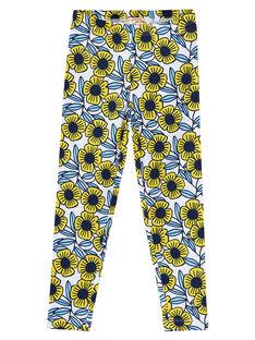 Mädchen-Leggings mit blauen und gelben Blumen JYATROLEG2 / 20SI01F2CAL001