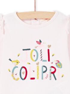 Baby Mädchen lange Ärmel rosa Beschriftung Kolibri T-Shirt MIKATEE / 21WG09I1TML632