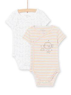 Set aus 2 weißen Bodys Geburt gemischt LOU2BOD3 / 21SF05I1BOD000