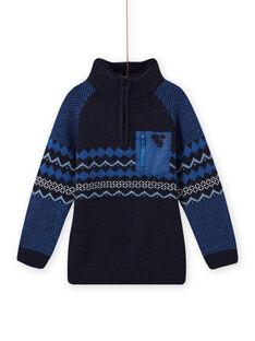 Blauer Jacquard-Pullover für Jungen MOPLAPUL / 21W902O1PUL705