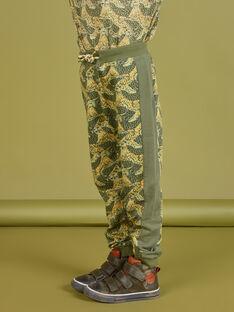 Jogginganzug für Jungen in Khaki mit Leopardenmuster MOKAJOG2 / 21W902I2JGB612