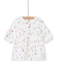 Kleid in ecru mit ausgefallenem Druck, Geburt Mädchen MOU1ROB / 21WF0341ROB001