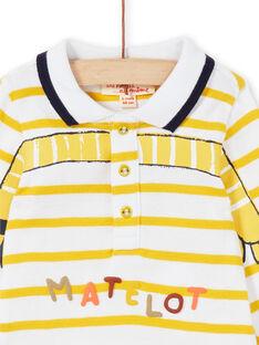 Weiß-gelb gestreifter Baumwoll-Bodysuit Baby Junge LUNOBOD / 21SG10L1BOD000