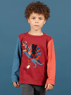 Jungen-T-Shirt in Rot und Marineblau MOPATEE3 / 21W902H1TML719